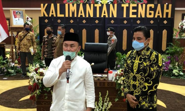 Gubernur Kalimantan Tengah, H Sugianto Sabran dalam kegiatan upaya percepatan penanggulangan Covid-19 di wilayah Kotim serta daerah lainnya