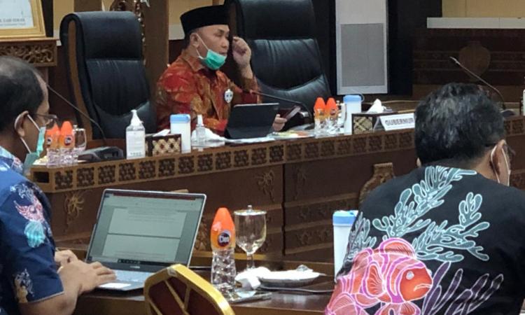 Virtual, Gubernur Kalteng Sugianto Sabran bersama Dinas terkait mengikuti diskusi virtual dengan Forkopimda dan Stakeholder Kalteng, gugus tugas se-Kalteng dan Walikota Palangka Raya