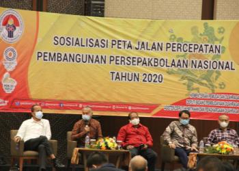 Sosialisasi Peta Jalan Percepatan Pembangunan Persepakbolaan Nasional Tahun 2020 yang diselenggarakan di Hotel Santika Premiere ICE BSD City, Tangerang, Provinsi Banten, Senin (30/11/2020)