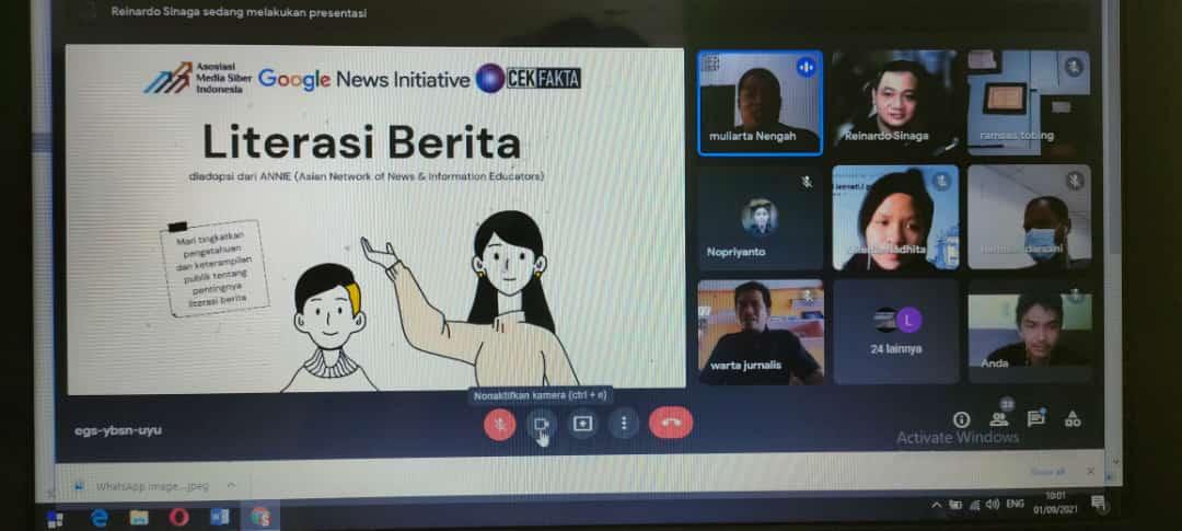 Training Literasi Berita (News Literacy) bagi publik, mahasiswa, akademisi, dan jurnalis. (Foto : AMSI)