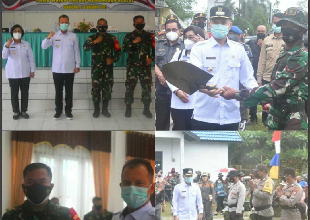Bupati Gunung Mas Jaya Samaya Monong saat membuka Kegiatan TNI Manunggal Membangun Desa (TMMD) Tahun 2021 yang dilaksanakan di Kelurahan Kampuri, Kecamatan Mihing Raya, Kabupaten Gunung Mas, Rabu (15/9/2021)