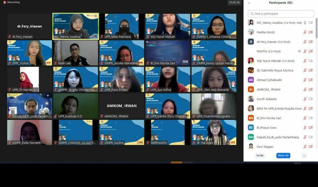 Peserta Webinar yang dilaksanakan oleh Genbi Kalteng melalui Divisi Kesehatan Masyarakat