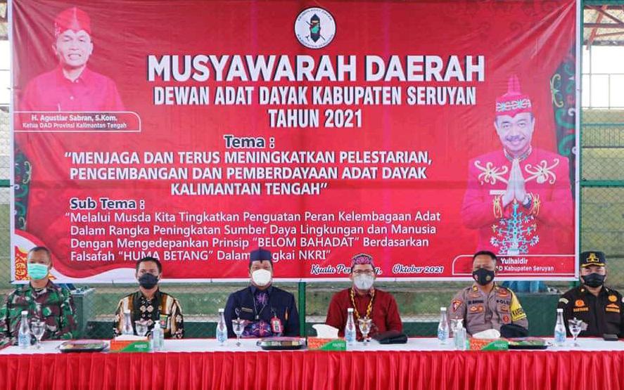 Pelaksanaan Musda Dewan Adat Dayak Kabupaten Seruyan Tahun 2021 bertempat di lapangan tenis indoor, Kamis (8/10/2021)